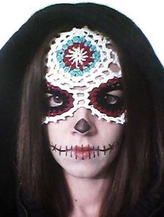 Sugar Skull Mask Crochet - NOT FREE Pattern PDF Download Day of the Dead Halloween Día de Muertos Costume Dress Up Fantasy Photo Prop Party