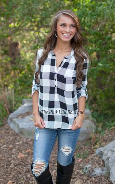 The Pink Lily Boutique - The Country Side Plaid Top , $29.00 (http://thepinklilyboutique.com/the-country-side-plaid-top/)