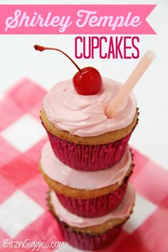 Cherry chip cupcakes spiked with lemon-lime soda, filled with a marshmallowy fluff, topped with vanilla butter cream frosting and garnished with a cherry.