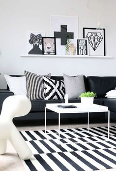 Black and White Living Room Decor . Black and White Living Room Decor . 10 Fall Trends the Season S Latest Ideas Living Room White, Home Living Room, Living Room Designs, Cozy Living, Black And White Living Room Ideas, Living Area, Living Room Inspiration, Home Decor Inspiration, Decor Ideas