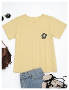 Floral Embroidered Cotton T Shirt (Yellow)