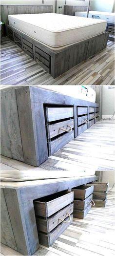 DIY Rustic Look Giant Pallet Bed with Storage Tutorial | Wood Pallet Furniture