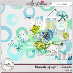 Moment of Life : Summer by HappyNess Creation. This digital scrapbooking mini kit with sea inspired elements  will be a great addition to your summers scrapbooking stash.