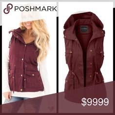 COMING SOON‼️ Burgundy Cargo Vest Burgundy cargo vest that looks great with just about anything. Throw on with a dress or go more casual with jeans. Either way you will look amazing! Four pockets in front with drawstring at waist. Hooded. Buttons up the front. Measurements upon request. Bundle and save 10%. Pre order and save 10%. Priced at $38. Jackets & Coats Vests