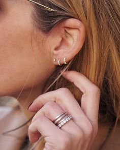 @chloelovestoshop showing off two new additions to her ear. These two rings were added by the expert piercers at our @LibertyLondon location. She shows an elegant style as the rings move up, ending in an invisibly set eternity ring, showing of the shine of diamond with the least interference and most compliment from the gold as possible. (Shop Link in Profile) @chloelovestoshop  #mariatash #libertyxmariatash #diamond #earcandy #curatedear