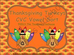 Your students will love learning to identify the vowels in CVC words with the Thanksgiving Turkeys CVC Vowel Sort activity/center! Students match feathers with pictures of CVC words to the turkeys with the correct medial vowel. Also included are 10 practice worksheets. This activity is aligned to the Common Core standards. $