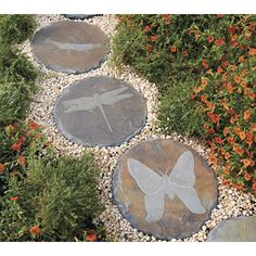 """Whether you use them to create a pathway or simply as a beautiful garden accent, these charming stepping stones are sure to make an impression for years to come. Each 13"""" stone is made from natural slate for enduring good looks and long-lasting outdoor use. The set includes 1 of each: butterfly,"""