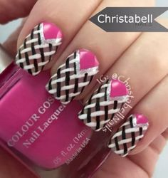 Pretty intricate looking, but easy to paint on winter nail art. Simply collect different nail colors so that you can draw the zigzag lines in and add silver glitter nail polish on top for accent.