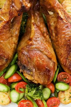 Easy Slow Cooker Turkey Legs Recipe - Only 4 Ingredients and a 5 Minute Prep Time - Low Carb Low Calorie and Paleo