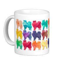 American Eskimo Rainbow Watercolor Design Classic White Coffee Mug