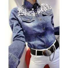 Wholesale Stylish Turn-Down Collar Diamante Embellished Long Sleeve Women's Denim Blouse (AS THE PICTURE,L) | Everbuying