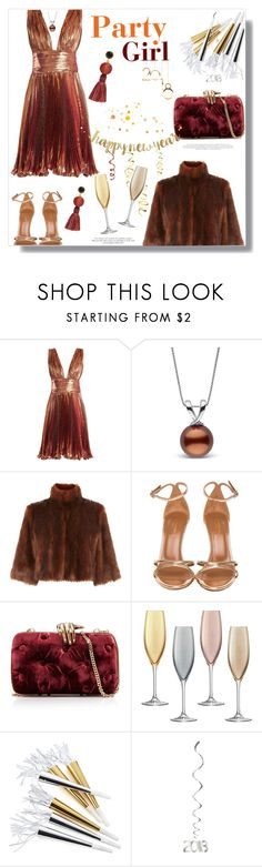 """""""Happy New Year!"""" by prettynposh2 ❤ liked on Polyvore featuring Maria Lucia Hohan, Coast, Aquazzura, Benedetta Bruzziches, LSA International, Crate and Barrel, Lizzie Fortunato, nye and 2018"""