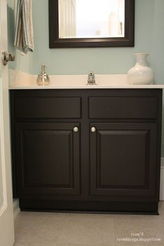 Ten Questions To Ask At Bathroom Paint Colors With Dark Cabinets - bathroom paint colors with dark cabinets Dark Cabinets Bathroom, Black Vanity Bathroom, Painting Bathroom Cabinets, Bathroom Furniture, White Bathroom, Bathroom Vanities, Bathroom Interior, Wood Furniture, Modern Furniture