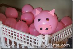 Farm Party Pig Balloon Decorations put all over gym floor