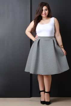 Striped Skater Skirt