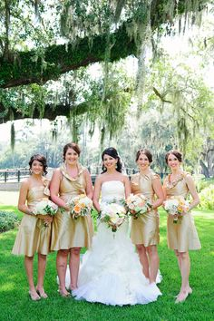 Bridesmaids -- See the wedding on SMP: http://www.StyleMePretty.com/south-carolina-weddings/bluffton/2014/02/19/romantic-palmetto-bluff-wedding/ Sara Parker Photography
