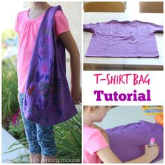 Make this fun t-shirt bag in a snap with this quick tutorial!