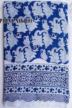 5 Yard Indian Hand Block Print Fabric Cotton Blue Paisley Design FabricMonarch