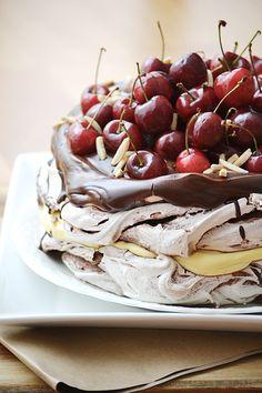The ever expanding kitchen: Cherry-topped tiramisu pavlova