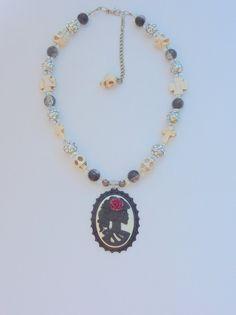 Cameo skull pendant choker, Black skull necklace, goth, sugar skull, sugar skull necklace, statement jewelry, jewelry, skull