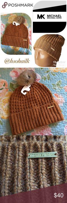 MMK fur pompom knit hat Brand new authentic Michael Michael Kors brown fur pompom knit winter hat. MICHAEL Michael Kors Accessories Hats