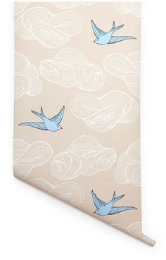 Bird & cloud wallpaper, comes in many colours, by Julia Rothman. I've ordered samples, hoping its great...