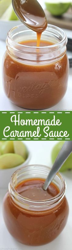 Homemade Caramel Sauce - Easy to make! With just 4 ingredients and a few minutes time, you can have it ready for dipping, topping, or including in your other caramel recipes.