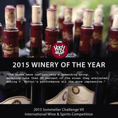 V. Sattui Winery proud to be named 2015 Winery of the Year by the Sommelier Challenge VII International Wine & Spirits Competition #VSattui
