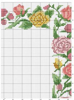 Schema punto croce Cornice-fiori-3