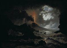 The Eruption of Vesuvius at Night by Josef Rebel (1787-1809)