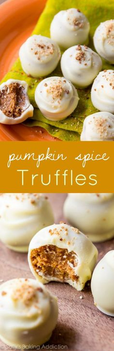 For the best Fall treat, make these pumpkin spice truffles. pumpkin desserts, recipes, Fall, Thanksgiving baking ideas