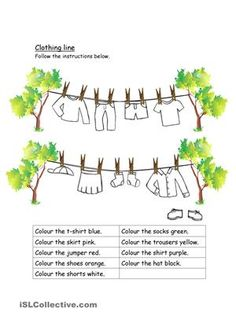 clothing and colours worksheet