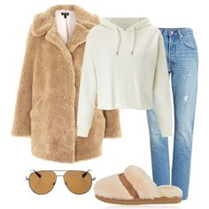 Outfit of The Day: Teddy Bear Coat. White crop hoodie+jeans+camel teddy-bear coat+blush and camel fur slippers/ mules+aviator sunglasses. Winter Casual Outfit 2018
