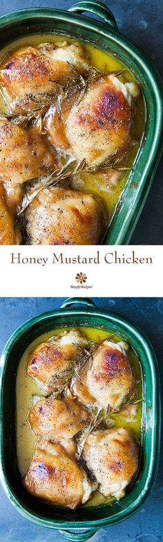 Honey Mustard Chicken! Chicken thighs baked in a simple honey mustard sauce until golden brown, with sprigs of rosemary. 1 pot, 5 ingredients, EASY! On SimplyRecipes.com