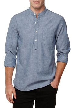 The L/S Granddad Collar is a modern take on the classic banded collared shirt, slim-fit and easy to wear. Outfits Casual, Stylish Mens Outfits, Stylish Shirts, Mode Outfits, Casual Shirts For Men, Fashion Outfits, Kurta Men, Kurta Shirt For Men, Men Shirt
