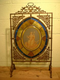 Victorian Fire Screens | Original Victorian Bronze Stained Glass Fire Screen