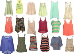 Strappy tops, I love the pink one at the top..