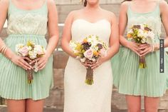So good - minty pleated bridesmaid dresses from   Photography by | CHECK OUT MORE GREAT GREEN WEDDING IDEAS AT WEDDINGPINS.NET | #weddings #greenwedding #green #thecolorgreen #events #forweddings #ilovegreen #emerald #spring #bright #pure #love #romance