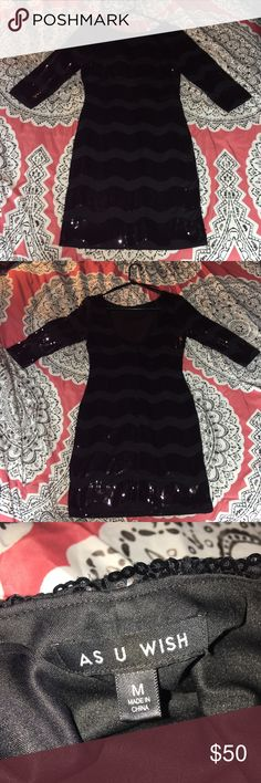Black Sparkly 3/4 Sleeve Bodycon Dress! Worn twice to two different weddings! It is a size medium and hit me at about mid thigh when it fit. I can take any measurements you'd like if requested! Feel free to make an offer! :-) As U Wish Dresses Midi