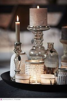 use small tray to gather candles and bottles - mismatched in similar tones so lovely <3:
