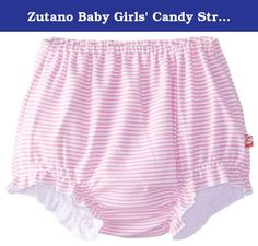 Zutano Baby Girls' Candy Stripe Bloomer, Hot Pink, 6 Months. Completely adorable, our new bloomers are an update to our classic diaper covers. They are made to be worn under dresses when the weather heats up, and they feature a cute ruffle edge around the leg openings. These bloomers will dress up a shirt or dress while protecting baby's diaper and adding a bit of flare to her outfit.