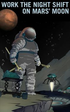 Work the Night Shift on Mars' Moon. From NASA's Mars Explorers Wanted collection. Workers are needed for all shifts on Mars' moon Phobos, where you can see Mars rise and set twice a day. Night owls es