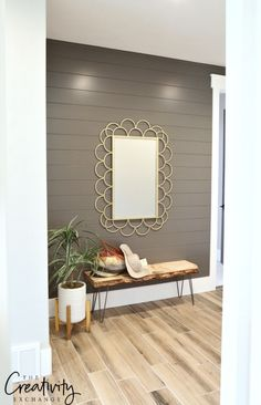 Painted shiplap accent wall in hallway.