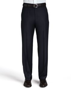 Flat-Front Pants, Navy, Men's, Size: 33 - Zanella