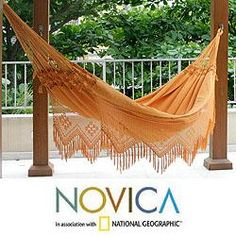 @Overstock - The tropical sun of Belem comes to life in a hammock that is woven of cotton, each end featuring rows of macrame. Brazil's Hammock Artisans of Ceara create a masterpiece of style and comfort, bordered with lavish fringed lace, crocheted by hand.http://www.overstock.com/Worldstock-Fair-Trade/Cotton-Belem-Sun-Hammock-Brazil/6341592/product.html?CID=214117 $192.99