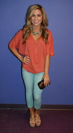 coraly shirt and aqua pants! love that combo with wedges