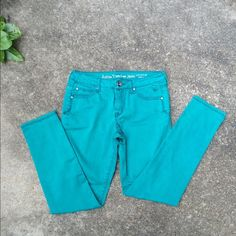Teal skinny jeans Juniors size 14 1/2 teal skinny jeans from Justice. Very gently worn. No rips or stains. Pet/ smoke free home. Justice Jeans Skinny