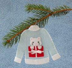 Christmas Sweater Blue Kitty Felt by sweetgracieandco on Etsy, $18.00