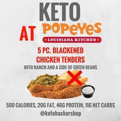 Keto at Popeye's. Keto tips and tricks. Ketogenic Recipes, Low Carb Recipes, Healthy Recipes, Ketogenic Diet, Ketogenic Lifestyle, Keto Fastfood, Keto Fast Food Options, Keto Restaurant, Restaurant Guide