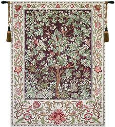 Tree of Life Brown William Morris Belgian Wall Tapestry